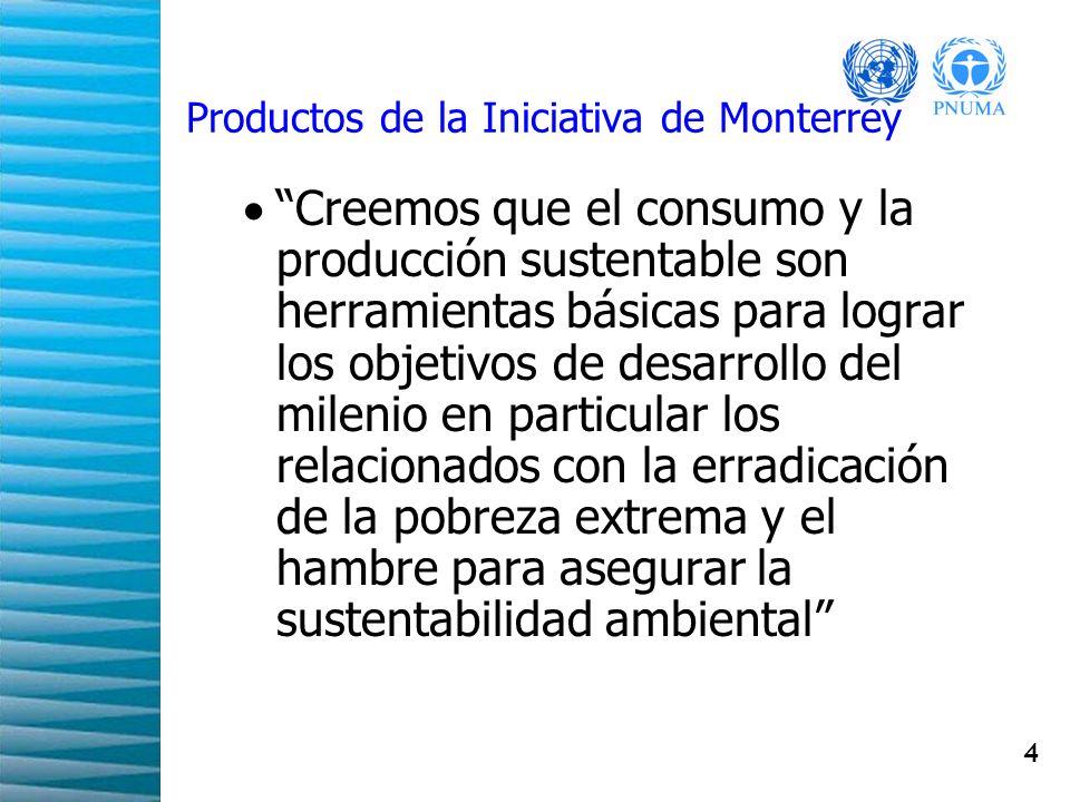 5 Resultados de la Iniciativa de Monterrey Recomendaciones en las siguientes materias: Agua Energía Agricultura Usos de recursos sustentables, tecnologías y productos.