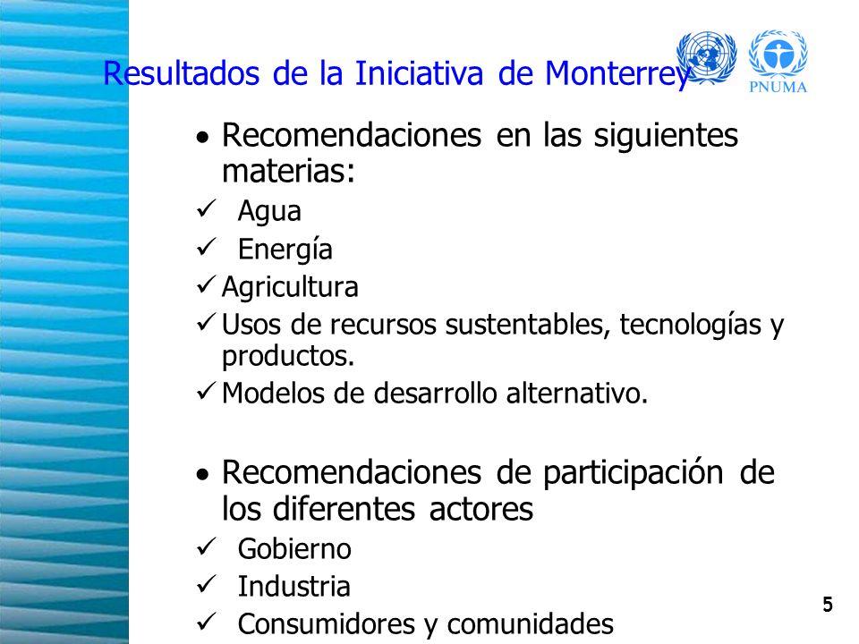 5 Resultados de la Iniciativa de Monterrey Recomendaciones en las siguientes materias: Agua Energía Agricultura Usos de recursos sustentables, tecnolo