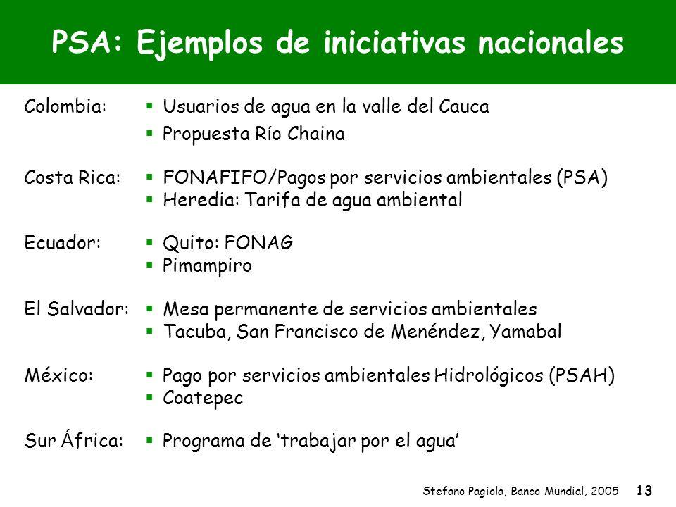 Stefano Pagiola, Banco Mundial, 2005 13 PSA: Ejemplos de iniciativas nacionales Colombia: Usuarios de agua en la valle del Cauca Propuesta R í o Chain