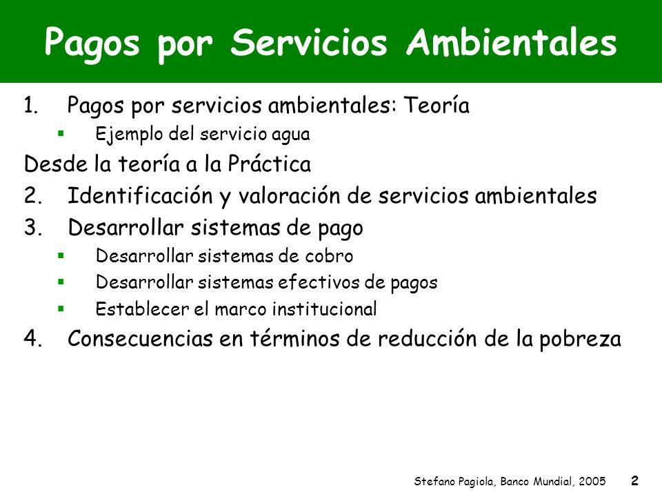 Stefano Pagiola, Banco Mundial, 2005 2 Pagos por Servicios Ambientales 1.Pagos por servicios ambientales: Teoría Ejemplo del servicio agua Desde la te