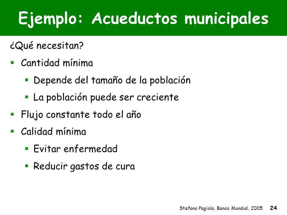 Stefano Pagiola, Banco Mundial, 2005 24 Ejemplo: Acueductos municipales ¿Qué necesitan? Cantidad mínima Depende del tamaño de la población La població