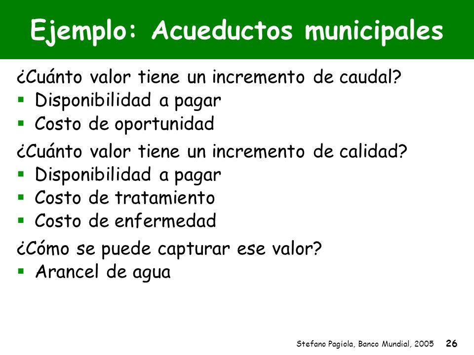 Stefano Pagiola, Banco Mundial, 2005 26 Ejemplo: Acueductos municipales ¿Cuánto valor tiene un incremento de caudal? Disponibilidad a pagar Costo de o