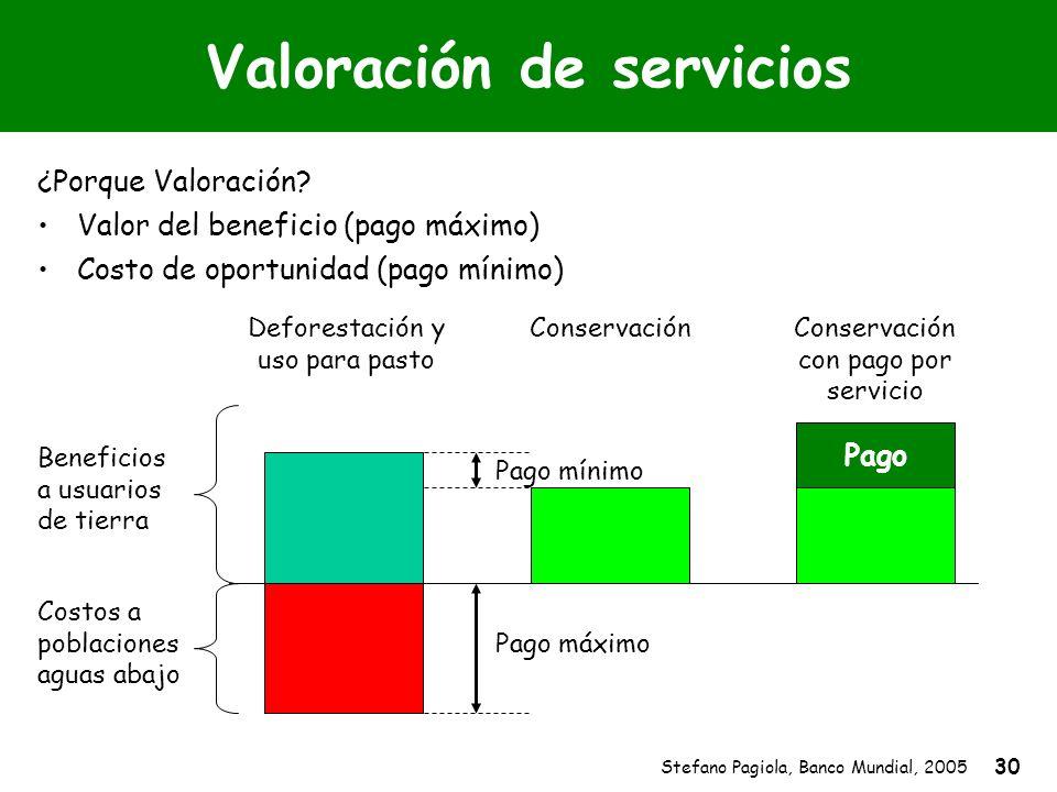 Stefano Pagiola, Banco Mundial, 2005 30 Valoración de servicios ¿Porque Valoración? Beneficios a usuarios de tierra Costos a poblaciones aguas abajo D