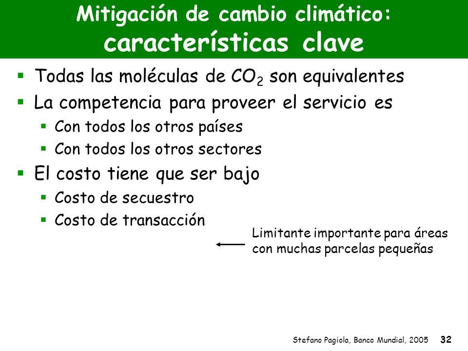 Stefano Pagiola, Banco Mundial, 2005 32 Mitigación de cambio climático: características clave Todas las moléculas de CO 2 son equivalentes La competen