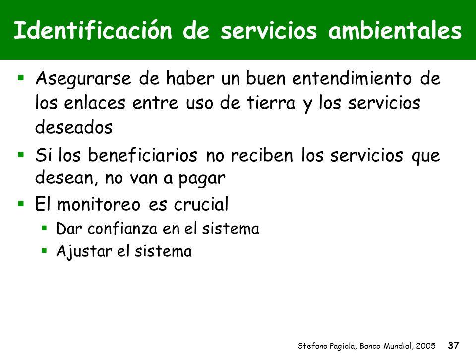 Stefano Pagiola, Banco Mundial, 2005 37 Identificación de servicios ambientales Asegurarse de haber un buen entendimiento de los enlaces entre uso de