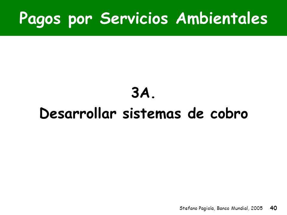 Stefano Pagiola, Banco Mundial, 2005 40 Pagos por Servicios Ambientales 3A. Desarrollar sistemas de cobro
