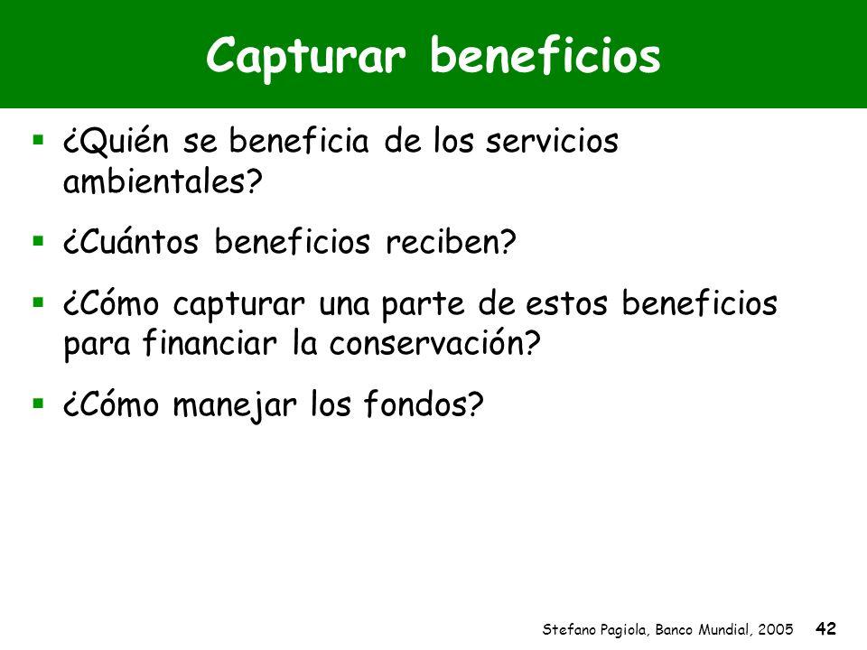 Stefano Pagiola, Banco Mundial, 2005 42 Capturar beneficios ¿Quién se beneficia de los servicios ambientales? ¿Cuántos beneficios reciben? ¿Cómo captu