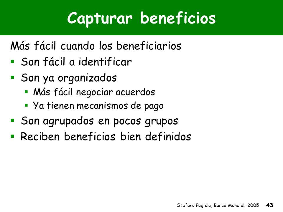 Stefano Pagiola, Banco Mundial, 2005 43 Capturar beneficios Más fácil cuando los beneficiarios Son fácil a identificar Son ya organizados Más fácil ne