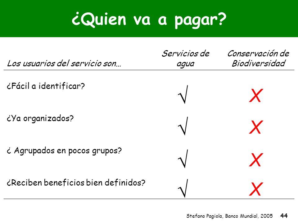 Stefano Pagiola, Banco Mundial, 2005 44 ¿Quien va a pagar? Los usuarios del servicio son… Servicios de agua Conservación de Biodiversidad ¿Fácil a ide