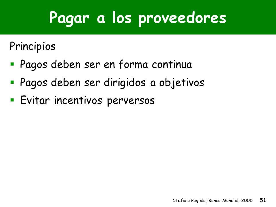 Stefano Pagiola, Banco Mundial, 2005 51 Pagar a los proveedores Principios Pagos deben ser en forma continua Pagos deben ser dirigidos a objetivos Evi