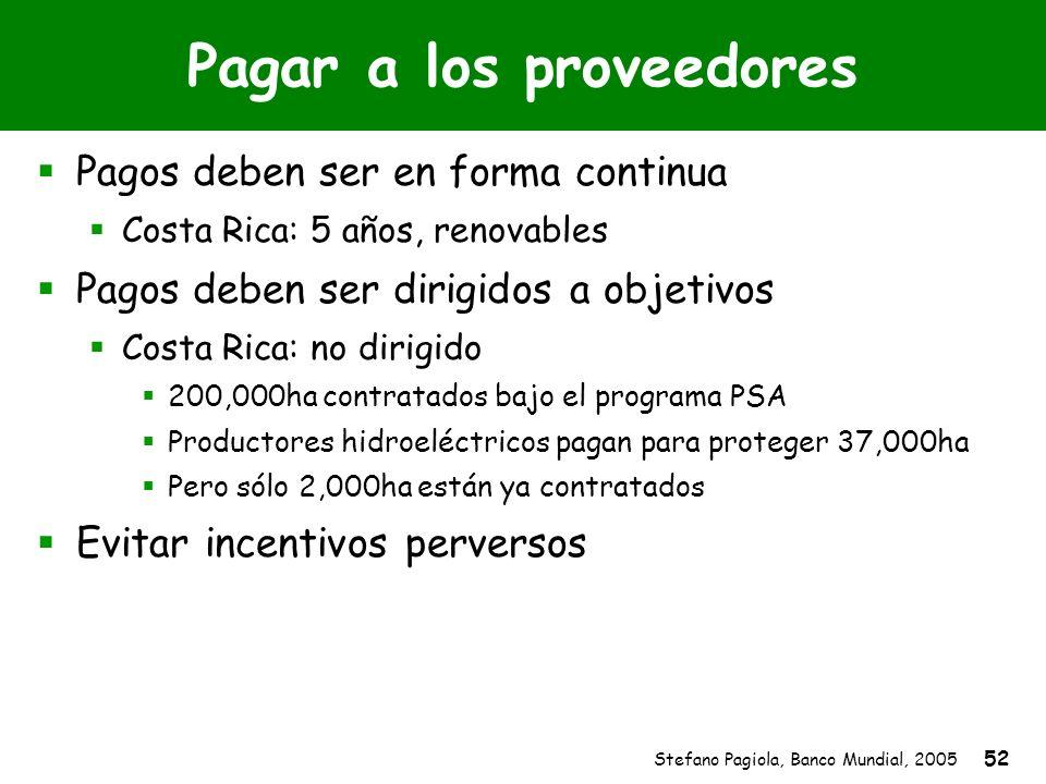 Stefano Pagiola, Banco Mundial, 2005 52 Pagar a los proveedores Pagos deben ser en forma continua Costa Rica: 5 años, renovables Pagos deben ser dirig