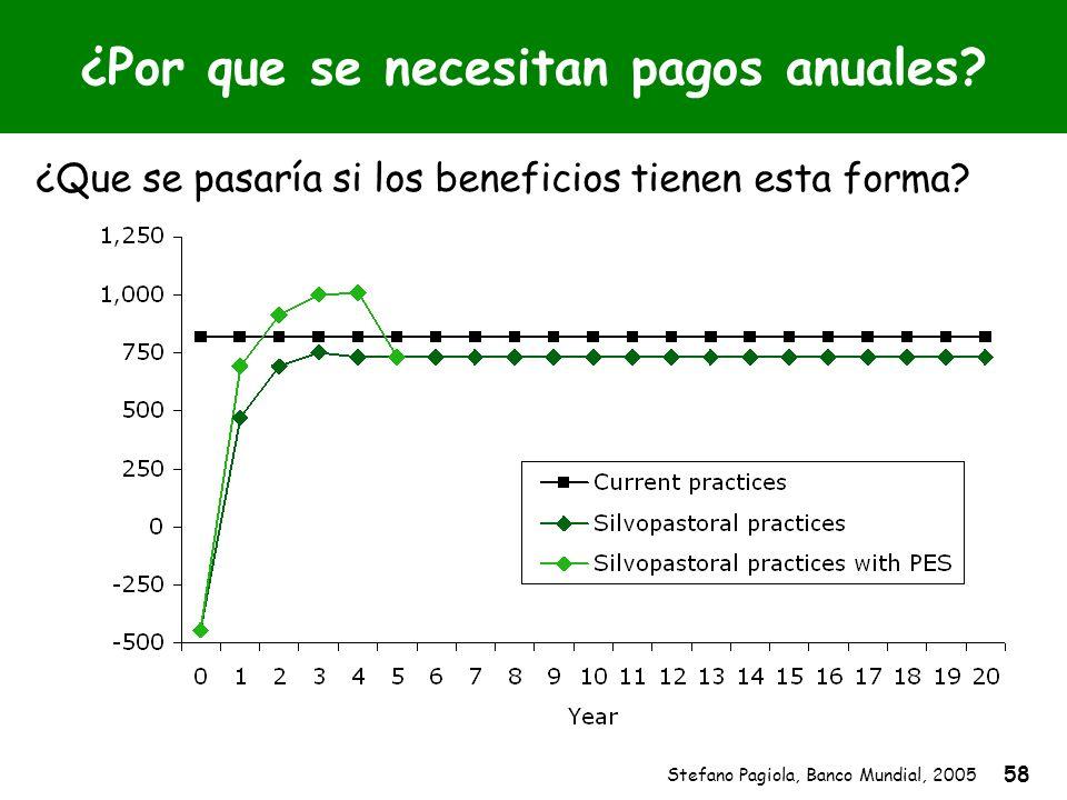 Stefano Pagiola, Banco Mundial, 2005 58 ¿Por que se necesitan pagos anuales? ¿Que se pasaría si los beneficios tienen esta forma?