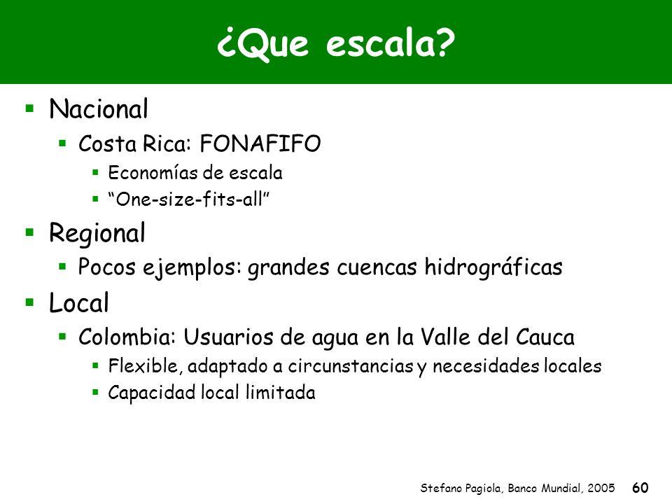 Stefano Pagiola, Banco Mundial, 2005 60 ¿Que escala? Nacional Costa Rica: FONAFIFO Economías de escala One-size-fits-all Regional Pocos ejemplos: gran