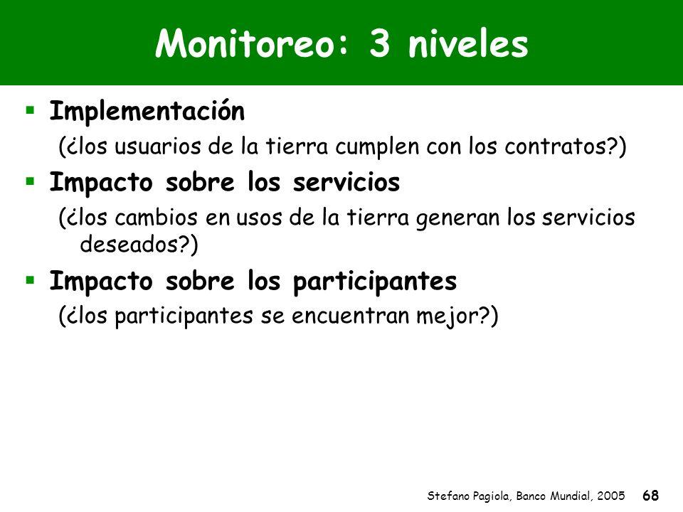Stefano Pagiola, Banco Mundial, 2005 68 Monitoreo: 3 niveles Implementación (¿los usuarios de la tierra cumplen con los contratos?) Impacto sobre los