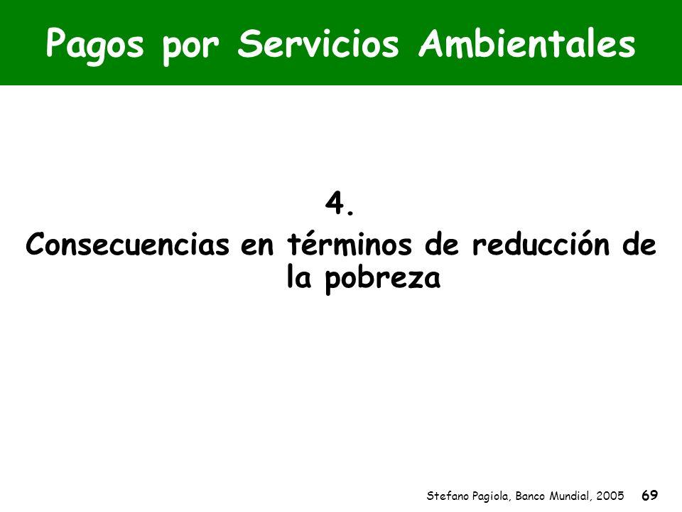 Stefano Pagiola, Banco Mundial, 2005 69 Pagos por Servicios Ambientales 4. Consecuencias en términos de reducción de la pobreza