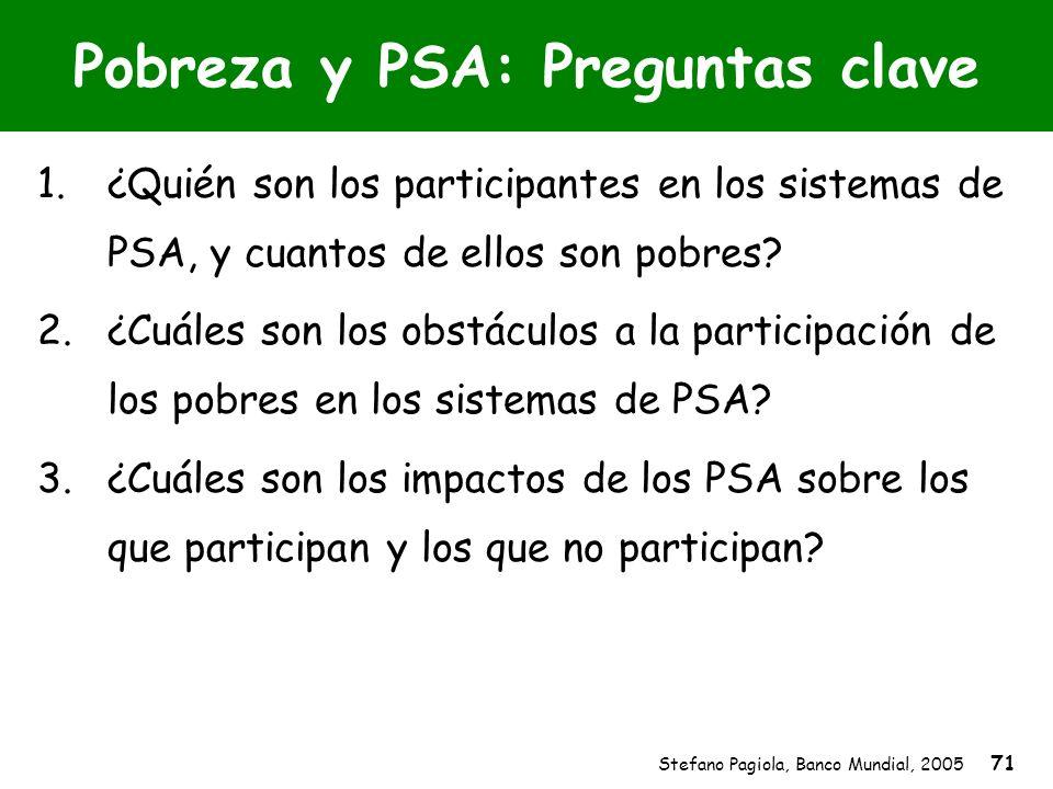 Stefano Pagiola, Banco Mundial, 2005 71 Pobreza y PSA: Preguntas clave 1.¿Quién son los participantes en los sistemas de PSA, y cuantos de ellos son p