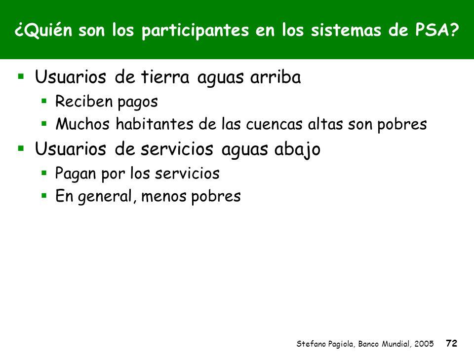 Stefano Pagiola, Banco Mundial, 2005 72 ¿Quién son los participantes en los sistemas de PSA? Usuarios de tierra aguas arriba Reciben pagos Muchos habi