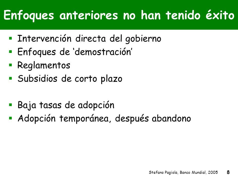 Stefano Pagiola, Banco Mundial, 2005 8 Enfoques anteriores no han tenido éxito Intervención directa del gobierno Enfoques de demostración Reglamentos