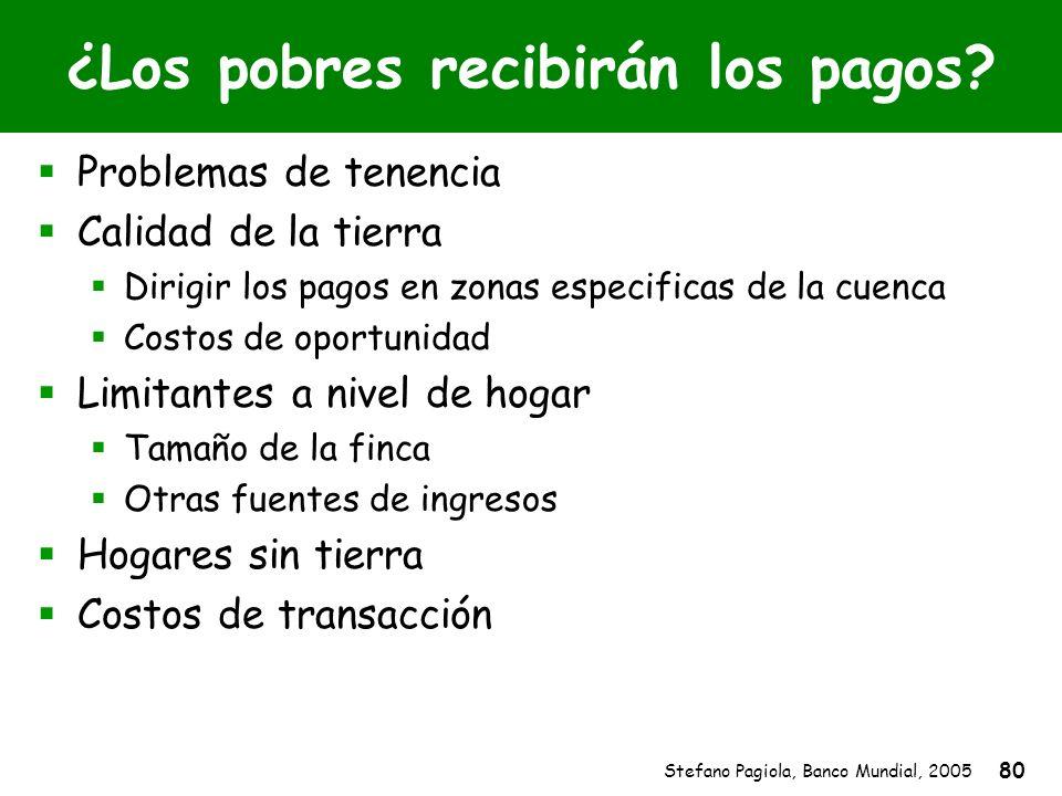 Stefano Pagiola, Banco Mundial, 2005 80 ¿Los pobres recibirán los pagos? Problemas de tenencia Calidad de la tierra Dirigir los pagos en zonas especif