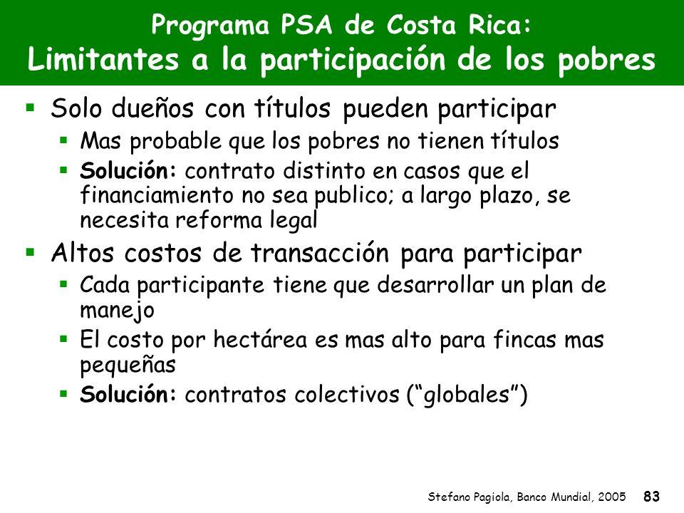 Stefano Pagiola, Banco Mundial, 2005 83 Programa PSA de Costa Rica: Limitantes a la participación de los pobres Solo dueños con títulos pueden partici