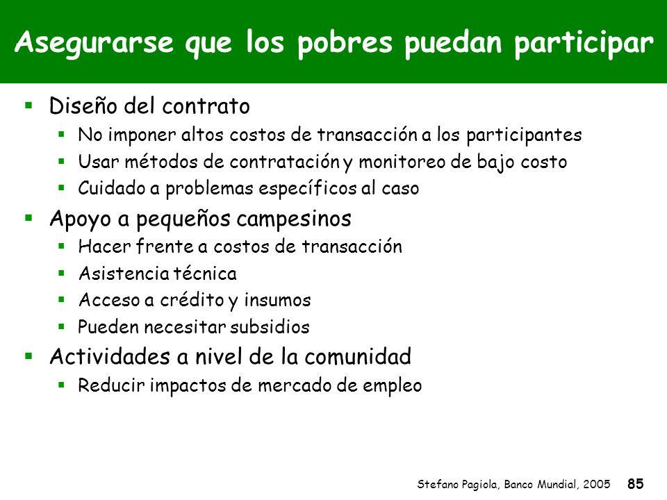 Stefano Pagiola, Banco Mundial, 2005 85 Asegurarse que los pobres puedan participar Diseño del contrato No imponer altos costos de transacción a los p