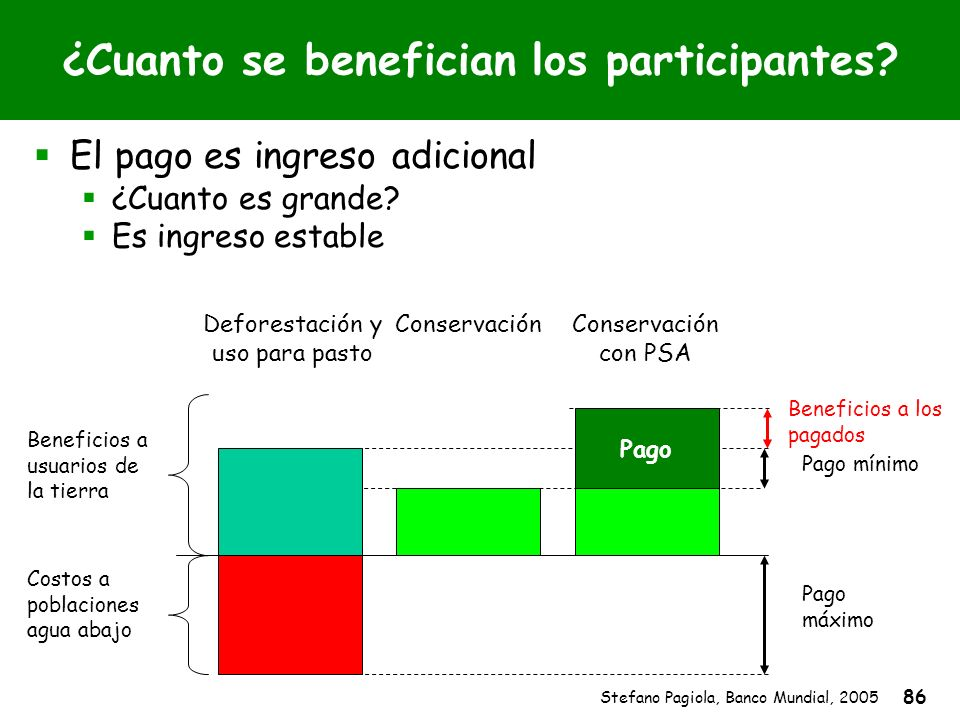 Stefano Pagiola, Banco Mundial, 2005 86 Pago mínimo Pago máximo ¿Cuanto se benefician los participantes? El pago es ingreso adicional ¿Cuanto es grand