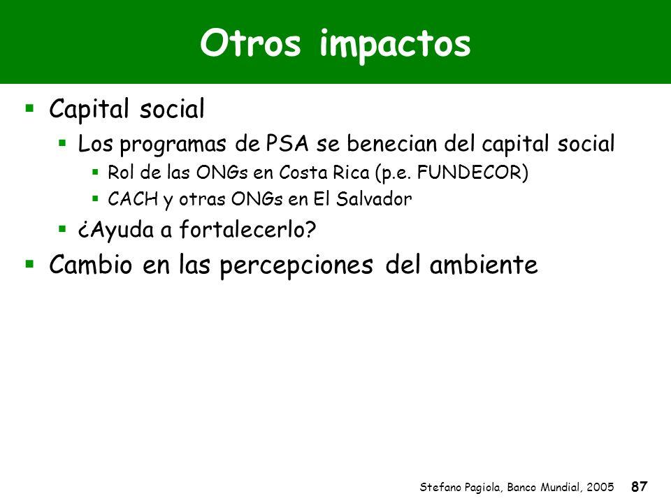 Stefano Pagiola, Banco Mundial, 2005 87 Otros impactos Capital social Los programas de PSA se benecian del capital social Rol de las ONGs en Costa Ric
