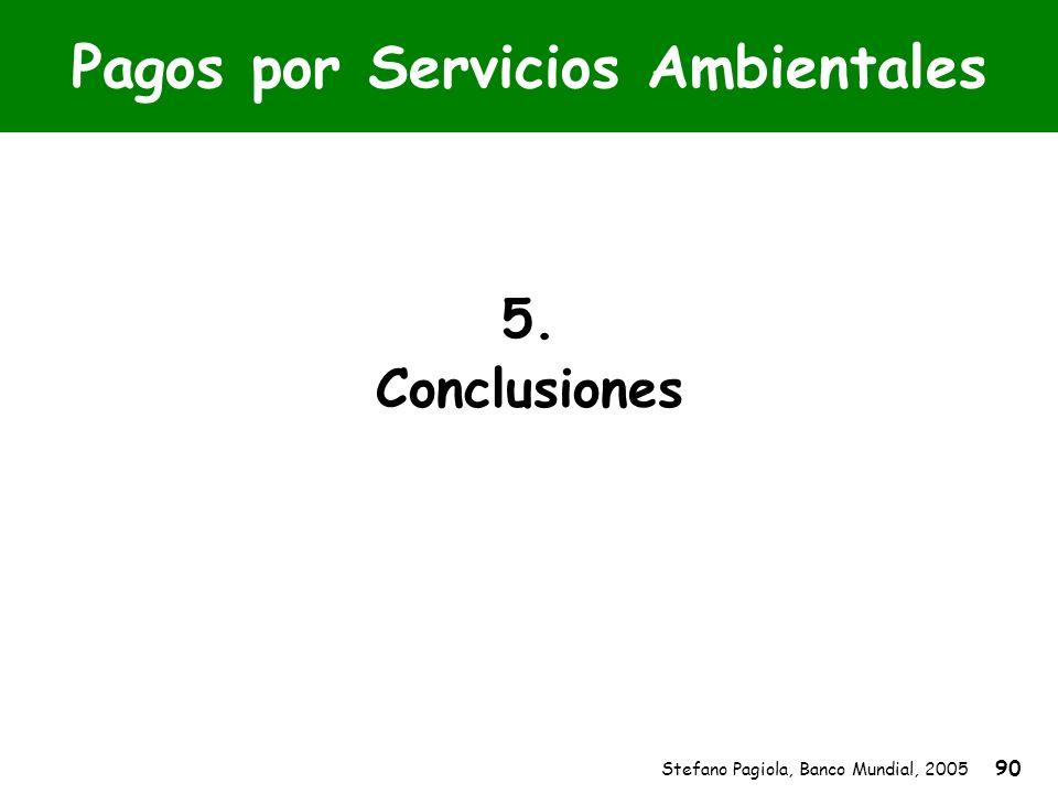 Stefano Pagiola, Banco Mundial, 2005 90 Pagos por Servicios Ambientales 5. Conclusiones