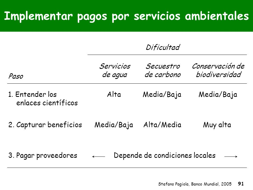 Stefano Pagiola, Banco Mundial, 2005 91 Media/Baja Muy alta Media/Baja Alta/Media Implementar pagos por servicios ambientales Alta Media/Baja Depende