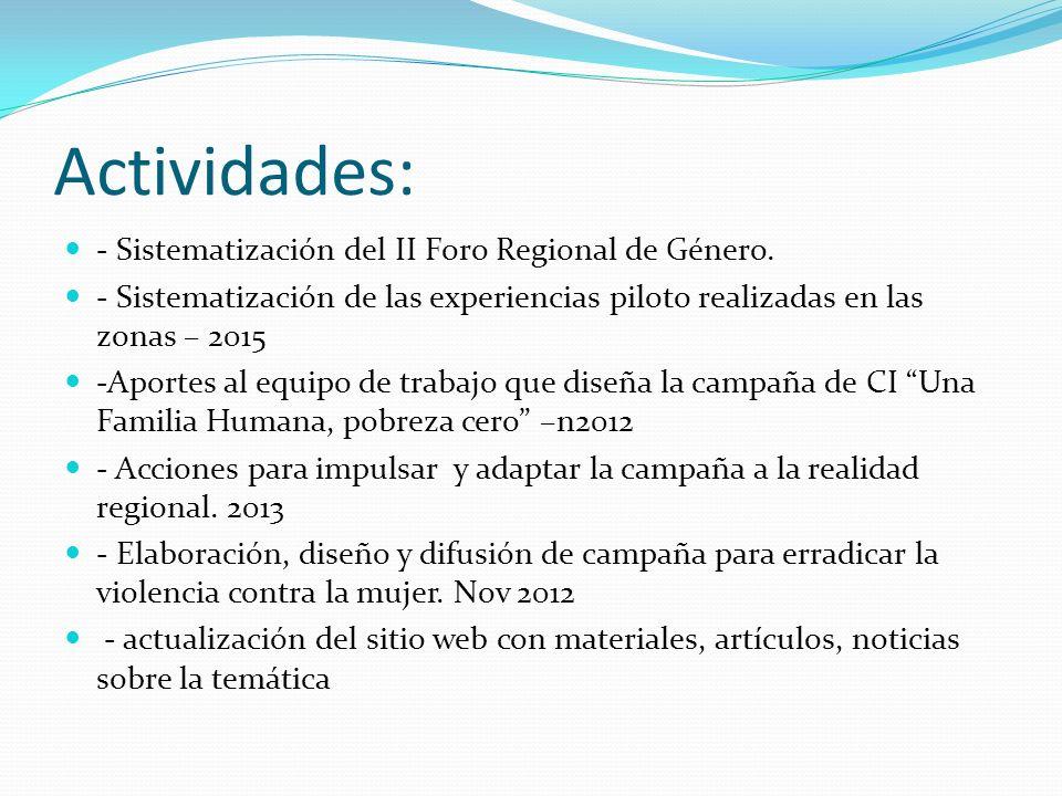 Actividades: - Sistematización del II Foro Regional de Género. - Sistematización de las experiencias piloto realizadas en las zonas – 2015 -Aportes al