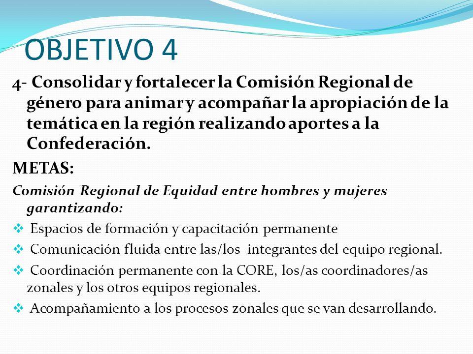 OBJETIVO 4 4- Consolidar y fortalecer la Comisión Regional de género para animar y acompañar la apropiación de la temática en la región realizando apo