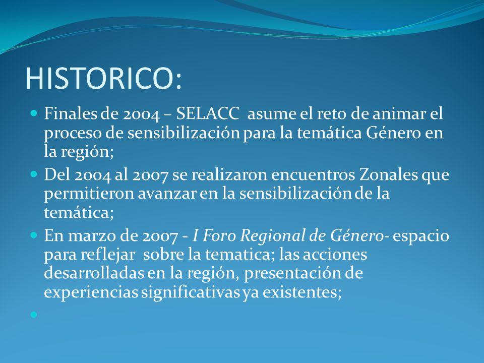 HISTORICO: Finales de 2004 – SELACC asume el reto de animar el proceso de sensibilización para la temática Género en la región; Del 2004 al 2007 se re