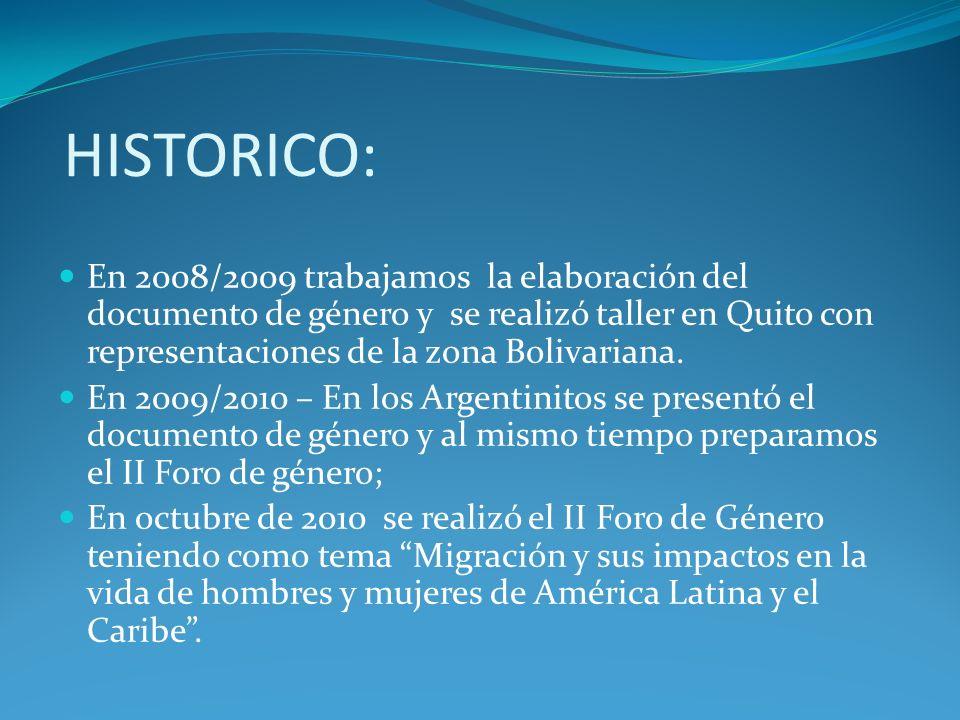 HISTORICO: En 2008/2009 trabajamos la elaboración del documento de género y se realizó taller en Quito con representaciones de la zona Bolivariana. En