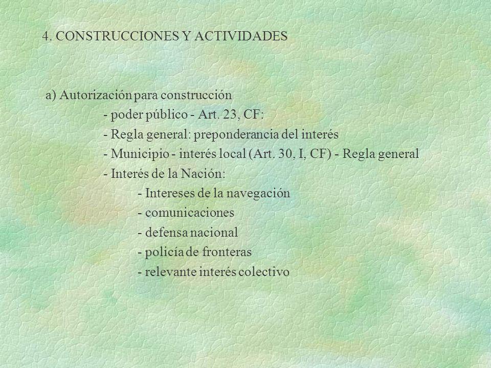4. CONSTRUCCIONES Y ACTIVIDADES a) Autorización para construcción - poder público - Art. 23, CF: - Regla general: preponderancia del interés - Municip