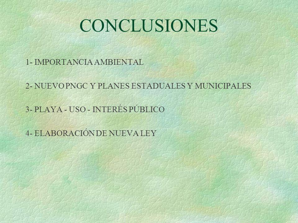 CONCLUSIONES 1- IMPORTANCIA AMBIENTAL 2- NUEVO PNGC Y PLANES ESTADUALES Y MUNICIPALES 3- PLAYA - USO - INTERÉS PÚBLICO 4- ELABORACIÓN DE NUEVA LEY