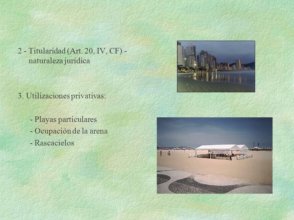 2 - Titularidad (Art. 20, IV, CF) - naturaleza jurídica 3. Utilizaciones privativas: - Playas particulares - Ocupación de la arena - Rascacielos