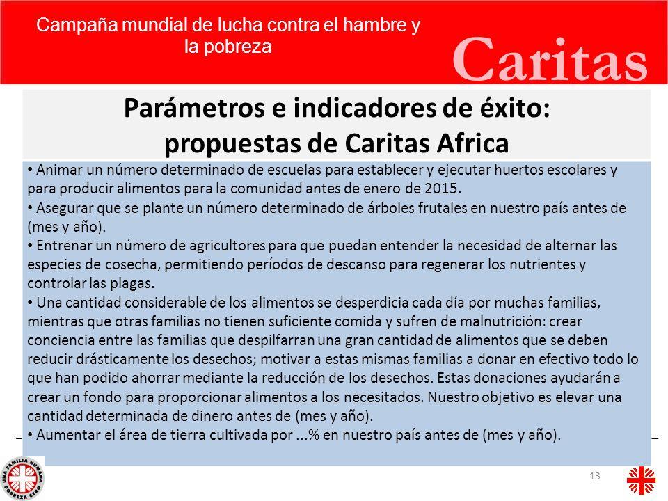 Caritas Parámetros e indicadores de éxito: propuestas de Caritas Africa Animar un número determinado de escuelas para establecer y ejecutar huertos es