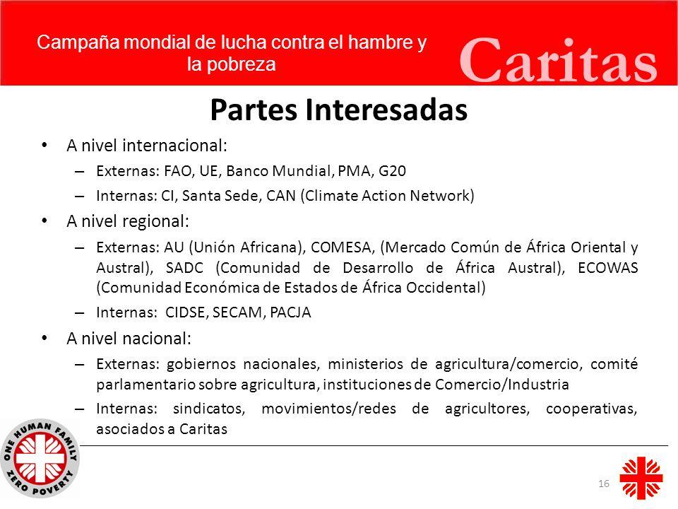 Caritas Partes Interesadas A nivel internacional: – Externas: FAO, UE, Banco Mundial, PMA, G20 – Internas: CI, Santa Sede, CAN (Climate Action Network