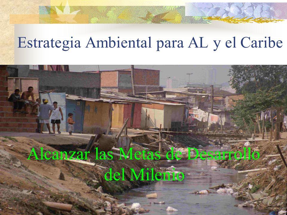 Mejorar las condiciones de salud por afectaciones ambientales Mejorar los Modos de Vida y reducir la vulnerabilidad a través del manejo sustentable de RN Manejo adecuado de los RN para fortalecer el crecimiento Buscar solución a retos globales y regionales OBJETIVOS DE DESARROLLO