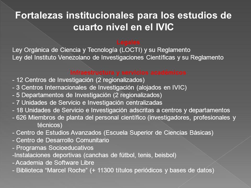 Fortalezas institucionales para los estudios de cuarto nivel en el IVIC Legales Ley Orgánica de Ciencia y Tecnología (LOCTI) y su Reglamento Ley del I