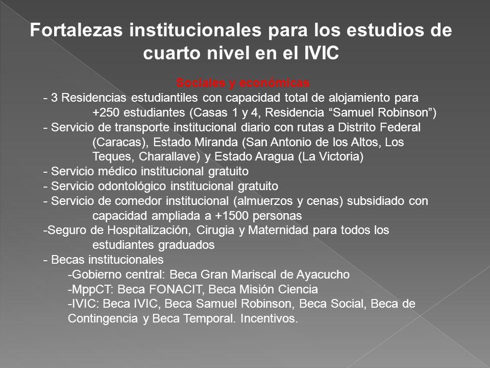 Fortalezas institucionales para los estudios de cuarto nivel en el IVIC Sociales y económicas - 3 Residencias estudiantiles con capacidad total de alo