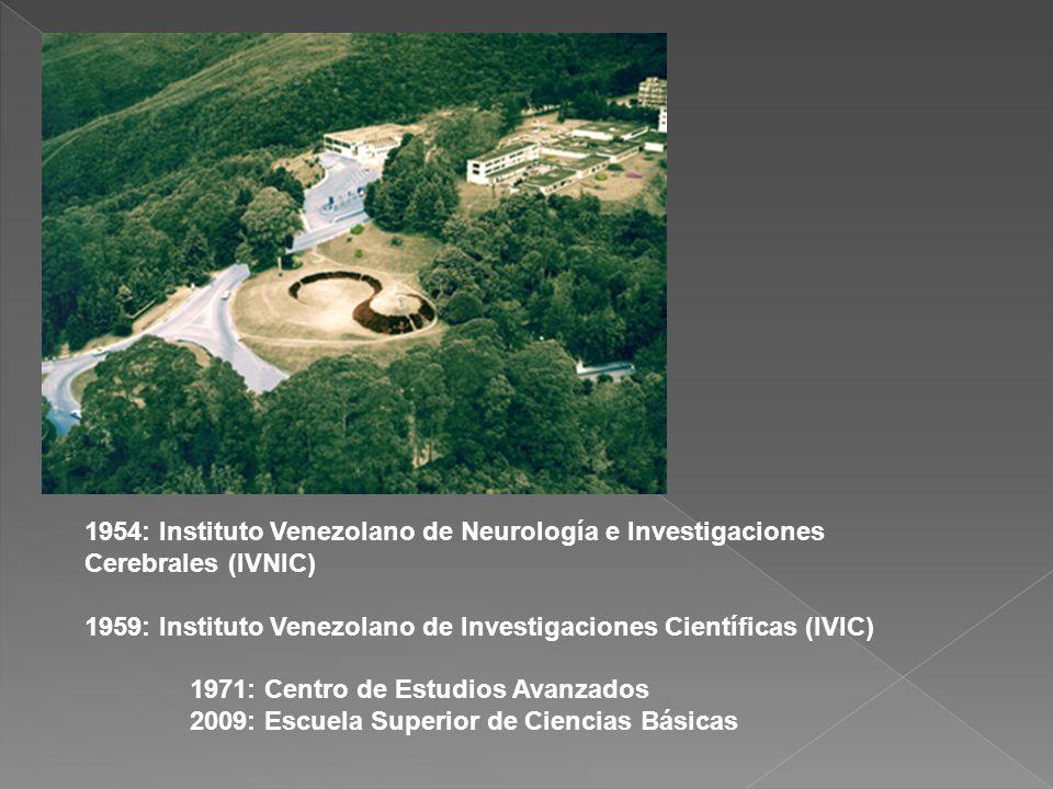 1954: Instituto Venezolano de Neurología e Investigaciones Cerebrales (IVNIC) 1959: Instituto Venezolano de Investigaciones Científicas (IVIC) 1971: C