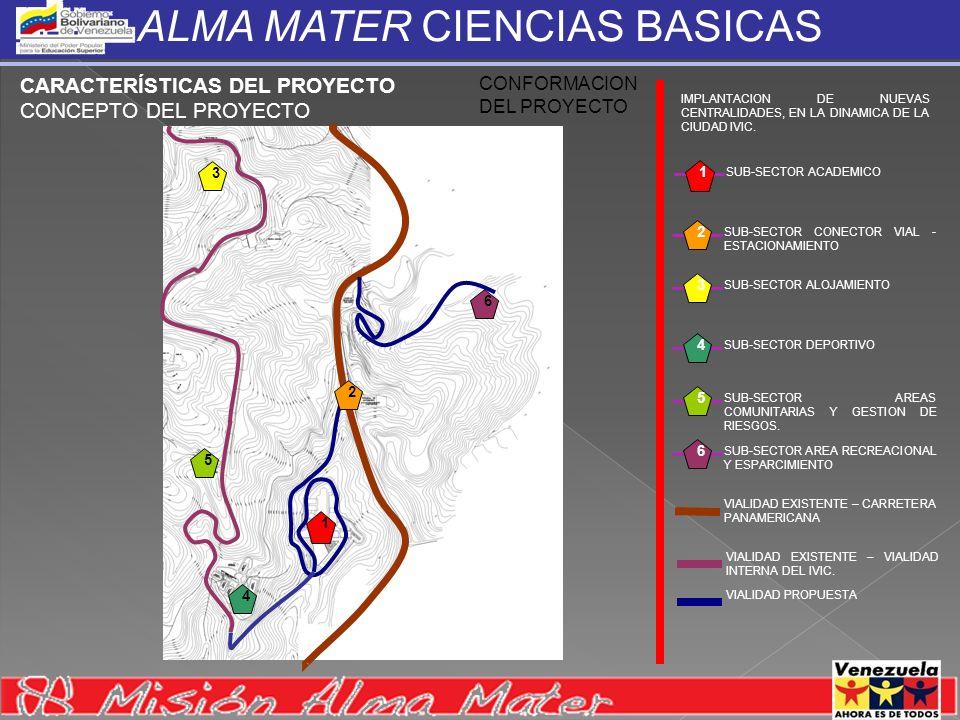 ALMA MATER CIENCIAS BASICAS CARACTERÍSTICAS DEL PROYECTO CONCEPTO DEL PROYECTO CONFORMACION DEL PROYECTO SUB-SECTOR ACADEMICO 1 SUB-SECTOR CONECTOR VI
