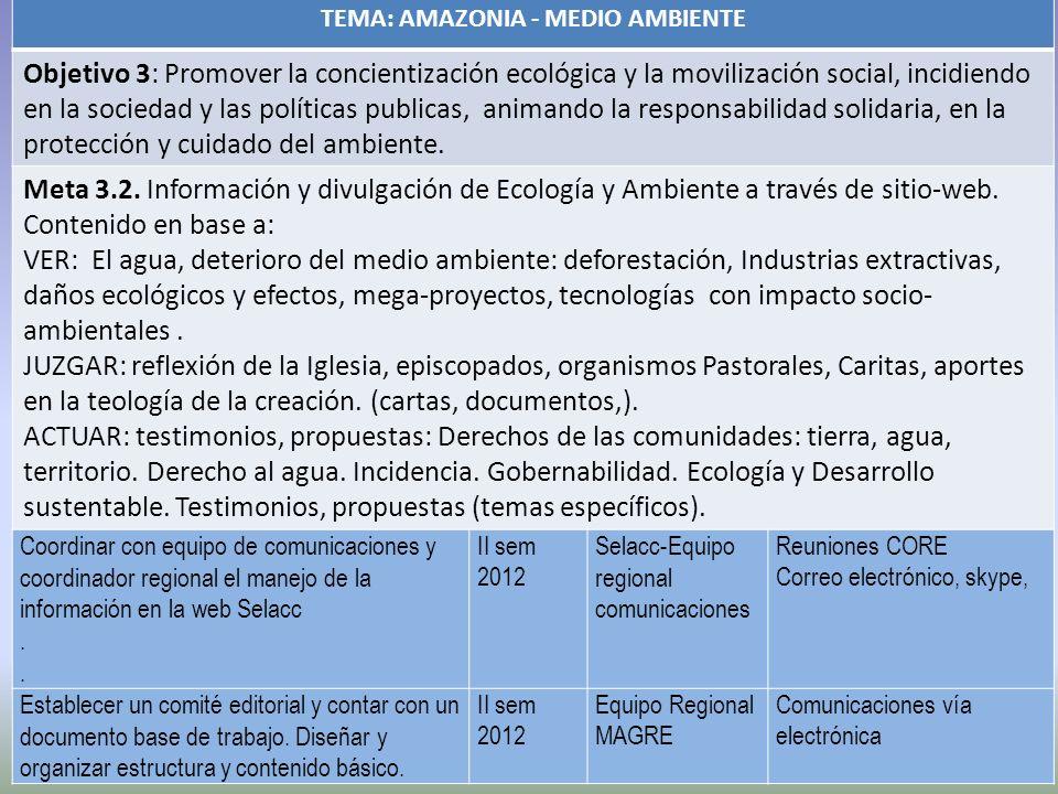 TEMA: AMAZONIA - MEDIO AMBIENTE Objetivo 3: Promover la concientización ecológica y la movilización social, incidiendo en la sociedad y las políticas