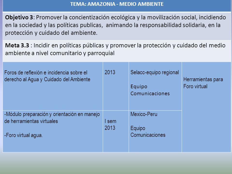TEMA: AMAZONIA - MEDIO AMBIENTE Objetivo 3: Promover la concientización ecológica y la movilización social, incidiendo en la sociedad y las políticas publicas, animando la responsabilidad solidaria, en la protección y cuidado del ambiente.
