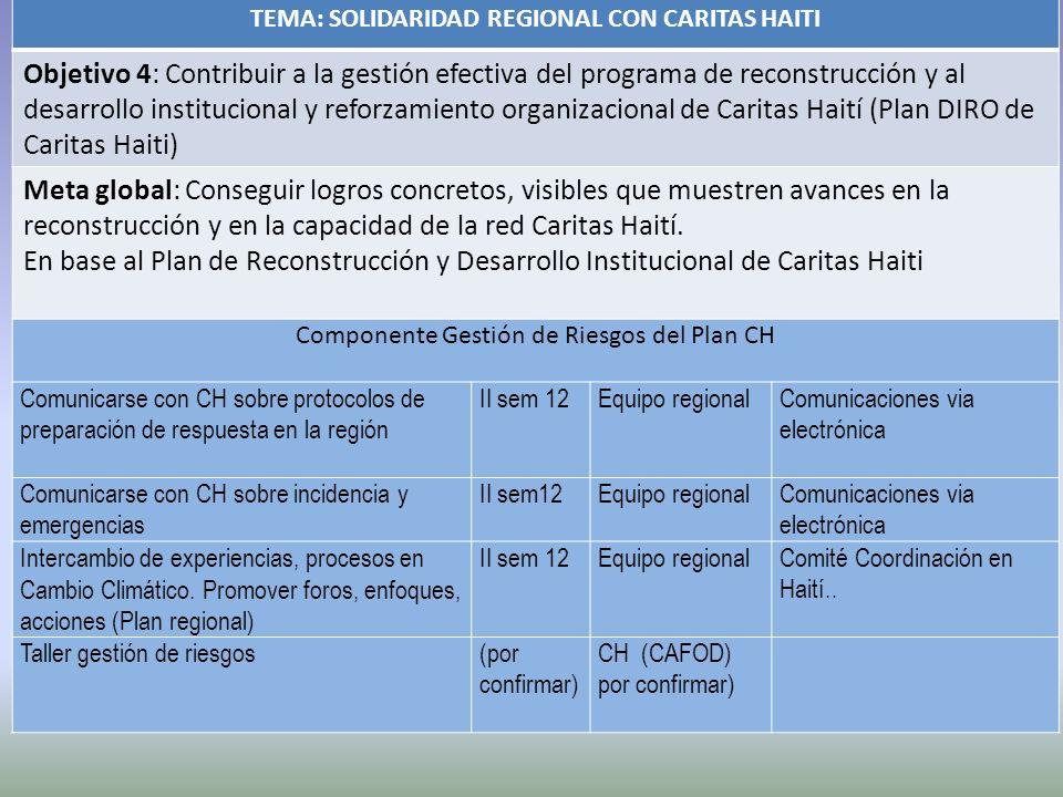 TEMA: SOLIDARIDAD REGIONAL CON CARITAS HAITI Objetivo 4: Contribuir a la gestión efectiva del programa de reconstrucción y al desarrollo institucional