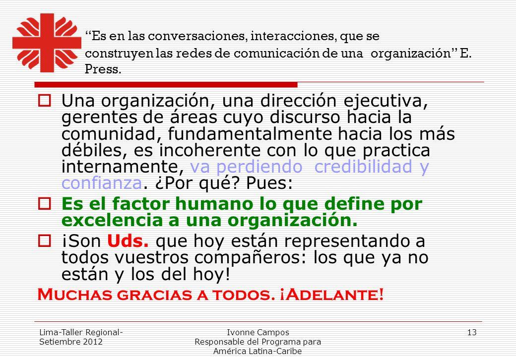 Lima-Taller Regional- Setiembre 2012 Ivonne Campos Responsable del Programa para América Latina-Caribe 13 Es en las conversaciones, interacciones, que