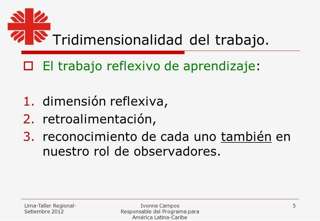 Lima-Taller Regional- Setiembre 2012 Ivonne Campos Responsable del Programa para América Latina-Caribe 5 Tridimensionalidad del trabajo. El trabajo re