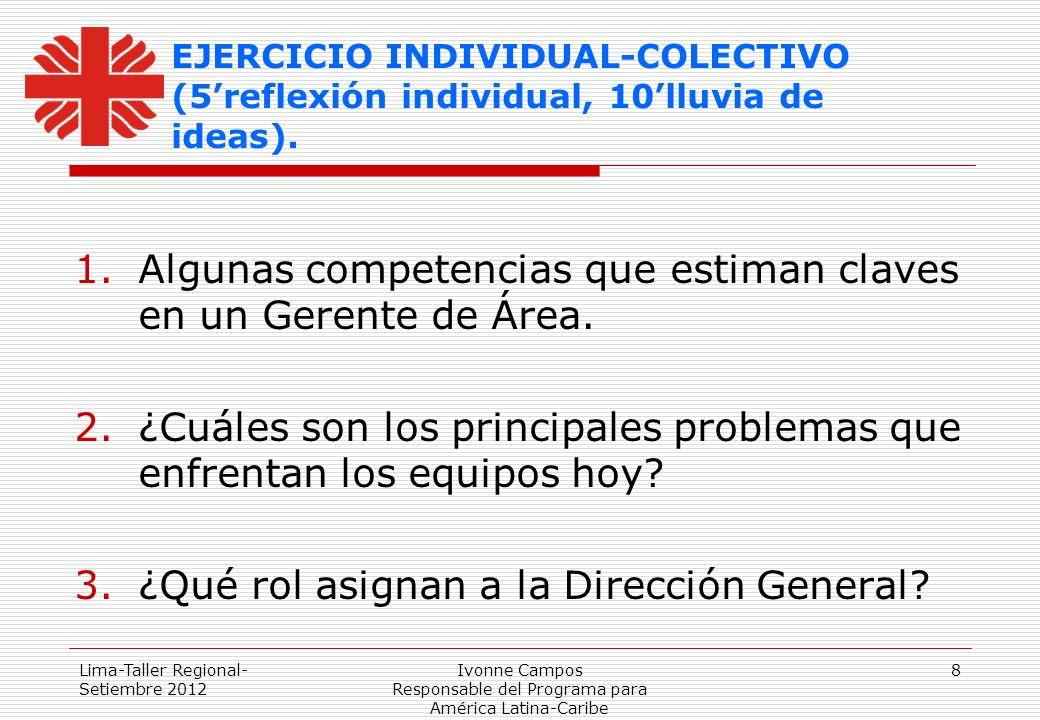 Lima-Taller Regional- Setiembre 2012 Ivonne Campos Responsable del Programa para América Latina-Caribe 8 EJERCICIO INDIVIDUAL-COLECTIVO (5reflexión in