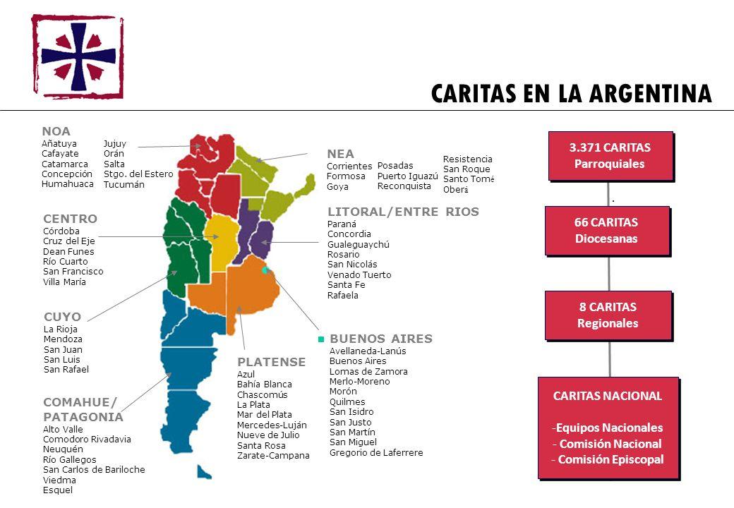 CARITAS EN LA ARGENTINA LITORAL/ENTRE RIOS Paraná Concordia Gualeguaychú Rosario San Nicolás Venado Tuerto Santa Fe Rafaela COMAHUE/ PATAGONIA Alto Va